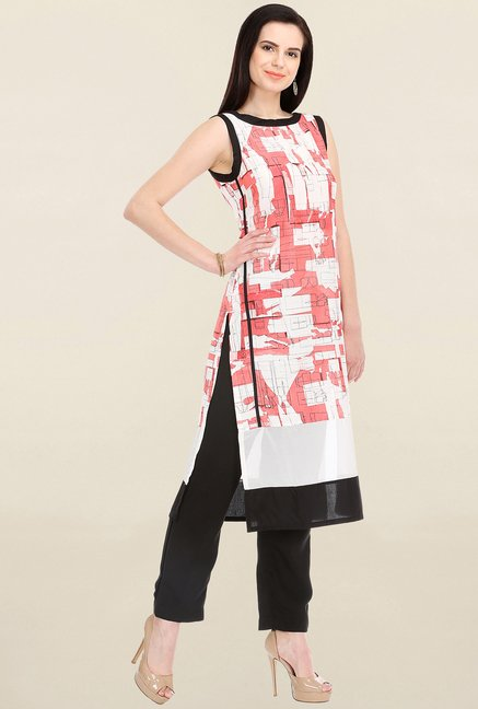 W Peach & White Printed Kurta
