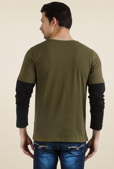 Rigo Army Green Round Neck T-Shirt