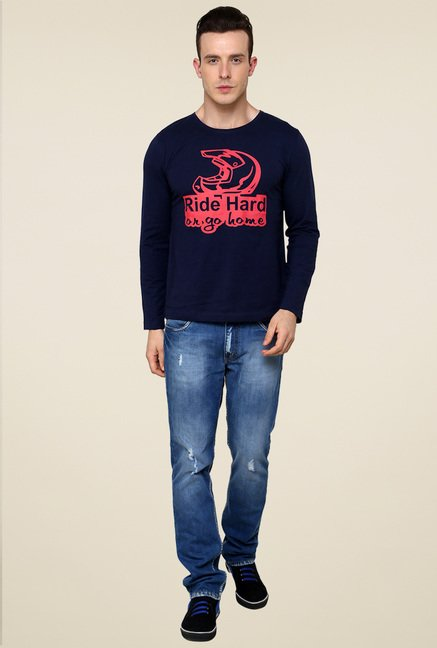Rigo Navy Printed Cotton T-Shirt