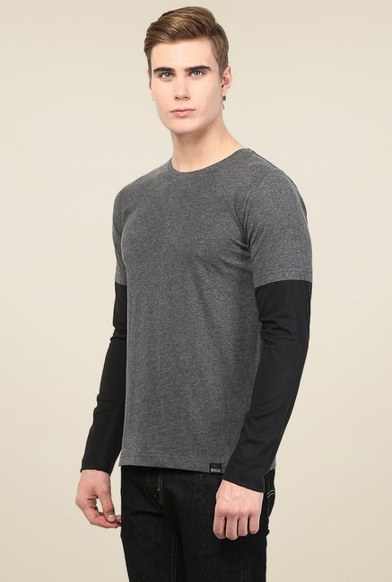 Rigo Charcoal Round Neck T-Shirt