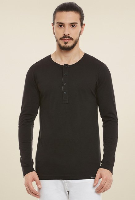 Rigo Black Full Sleeves Henley T-Shirt