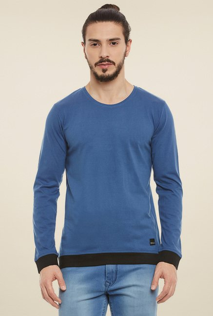 dacb70fffcd Buy Rigo Aqua Blue   Black Full Sleeves Henley T-Shirt for Men ...