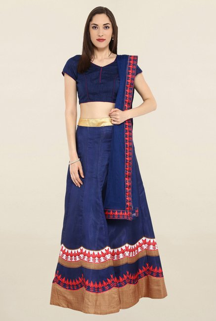 8fd989872f6 Buy Janasya Navy Semi Stitched Banglori Silk Lehenga Choli for Women Online    Tata CLiQ