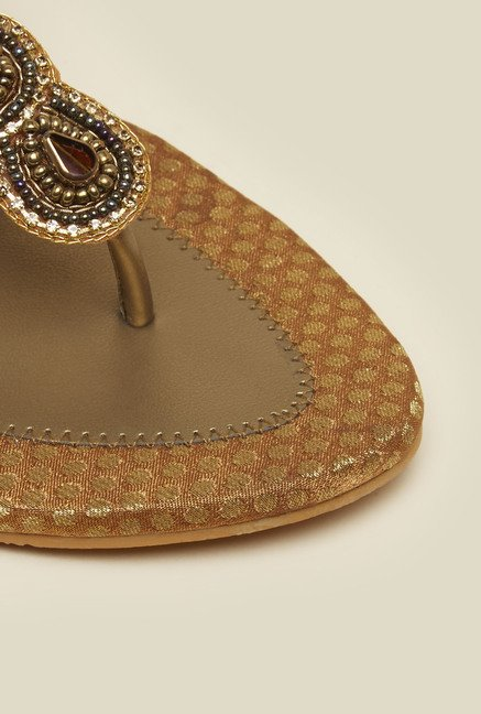 b350cdd5d4454 Buy Mochi Antique Gold Beaded Flat Sandals for Women at Best Price ...