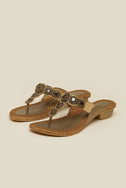 24481d220cd03 Buy Mochi Antique Gold Beaded Flat Sandals for Women at Best Price   Tata  CLiQ