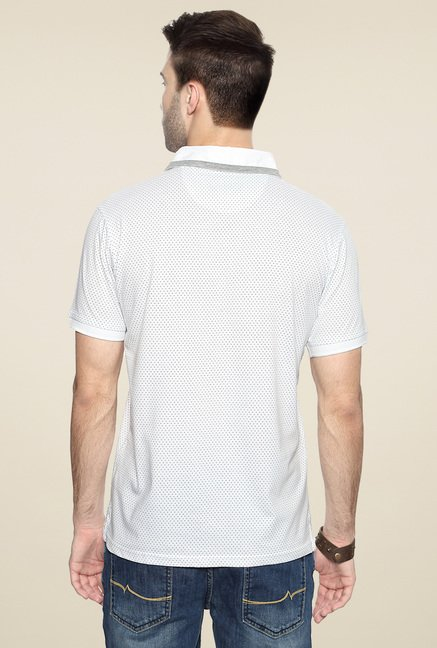 Allen Solly White Half Sleeves Printed Polo T-Shirt