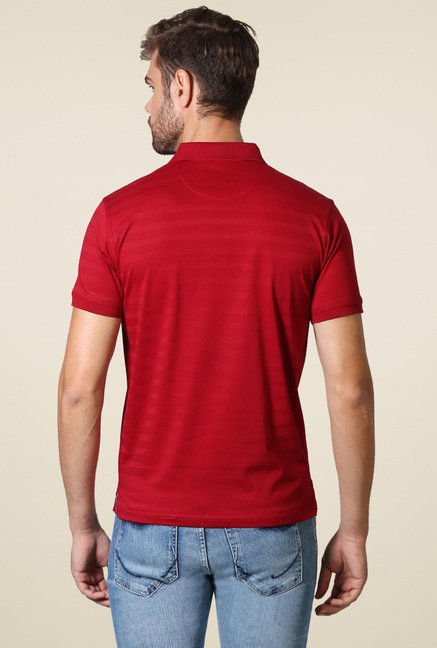 Allen Solly Red Regular Fit Stripe Polo T-Shirt