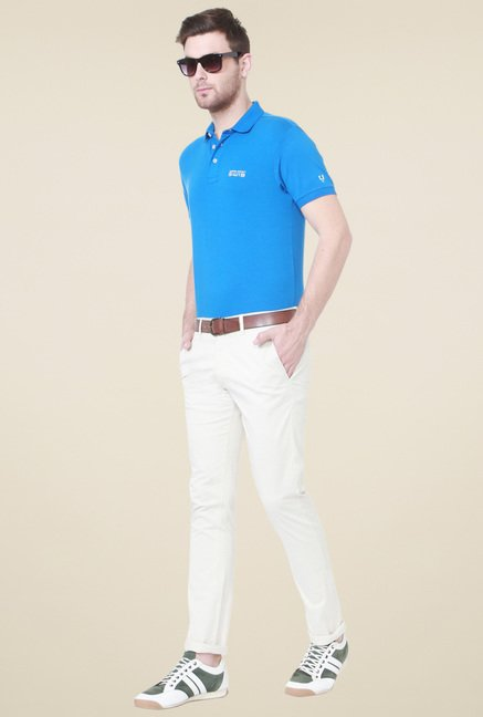 Allen Solly Blue Half Sleeves Cotton T-Shirt
