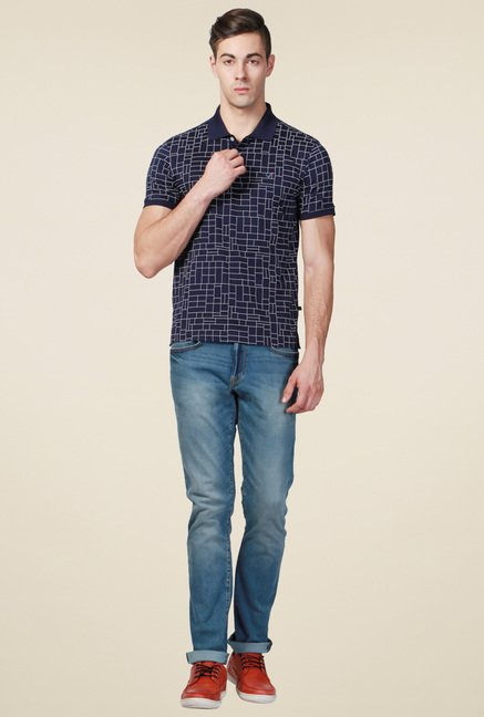 Allen Solly Navy Regular Fit Cotton Printed T-Shirt