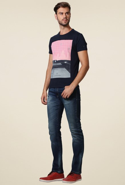 Allen Solly Navy Crew Neck Printed T-Shirt
