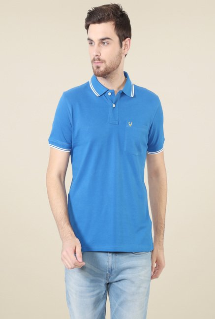 Allen Solly Aqua Blue Half Sleeves Polo T-Shirt