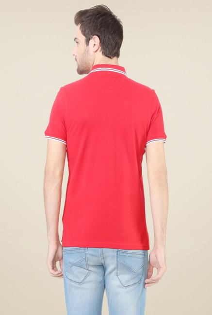 Allen Solly Red Cotton Regular Fit Polo T-Shirt