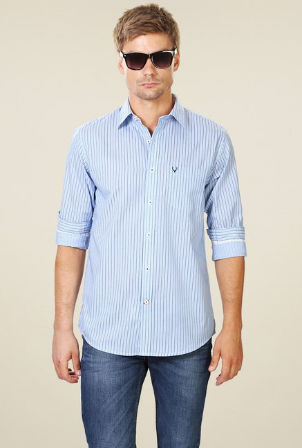 Allen Solly Light Blue Slim Fit Striped Cotton Shirt