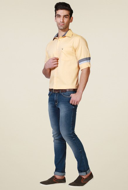 Allen Solly Yellow Slim Fit Shirt