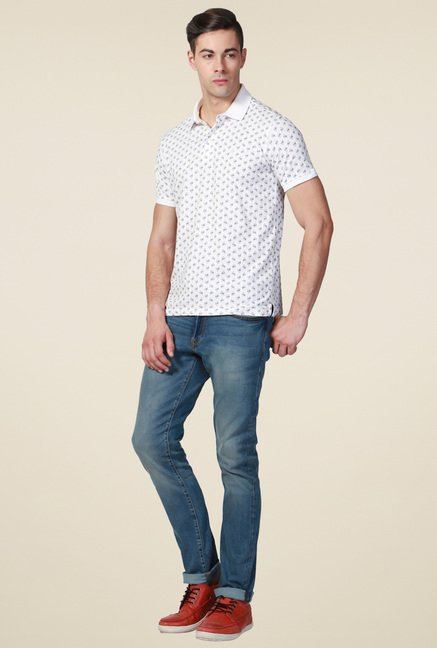 Allen Solly White Printed Cotton T-Shirt
