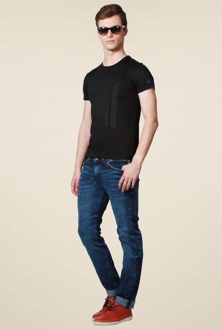 Allen Solly Black Printed Regular Fit T-Shirt