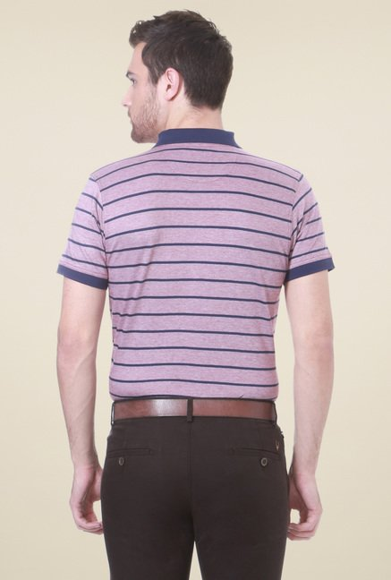 Allen Solly Mauve Striped Regular Fit Polo T-Shirt