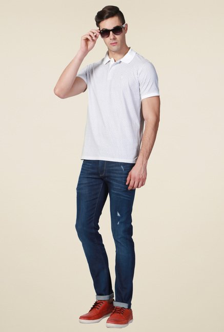 Allen Solly White Cotton Printed Polo T-Shirt