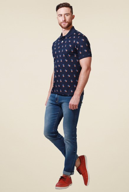 Allen Solly Navy Printed Cotton Polo T-Shirt