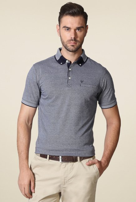 Allen Solly Grey Regular Fit Self Polo T-Shirt