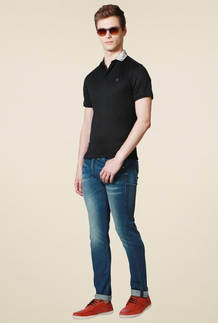 Allen Solly Black Regular Fit Cotton Polo T-Shirt