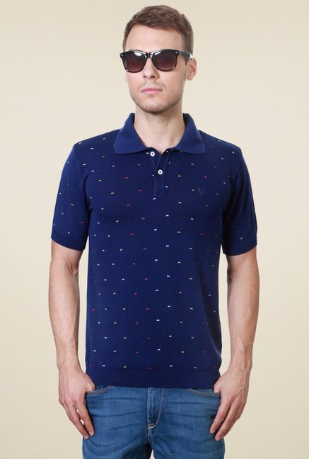 Allen Solly Royal Blue Printed Polo T-Shirt
