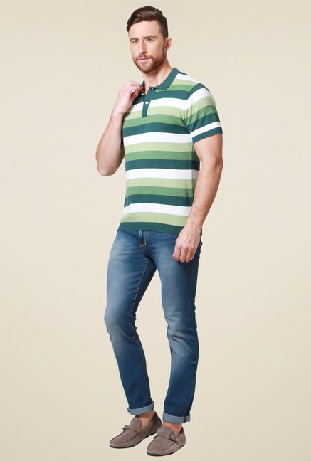 Allen Solly Green Striped Regular Fit Polo T-Shirt