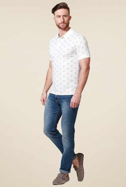 Allen Solly White Half Sleeves Printed Cotton Polo T-Shirt