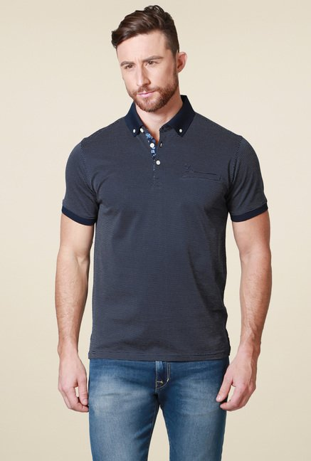 Allen Solly Navy Regular Fit Printed Polo T-Shirt