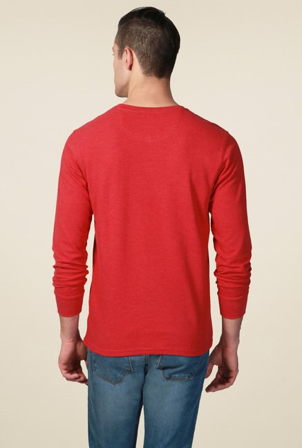 Allen Solly Red Crew Neck T-Shirt