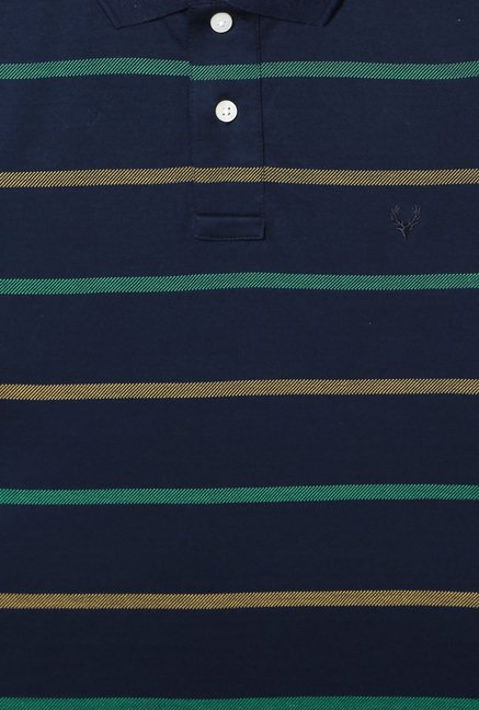 Allen Solly Navy Regular Fit Striped Polo T-Shirt