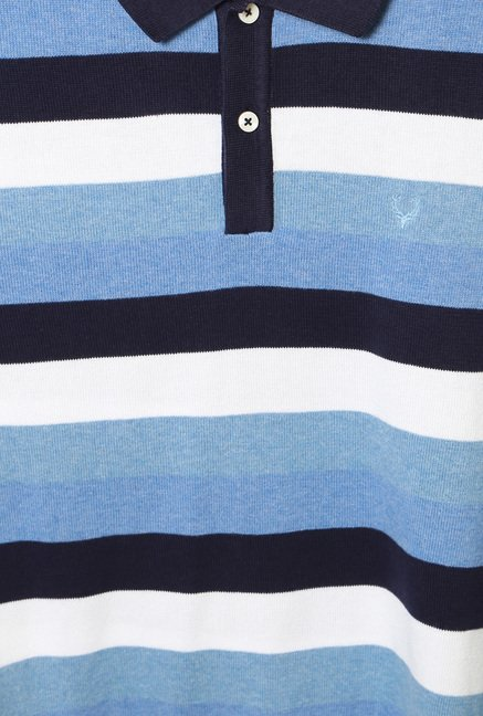 Allen Solly Blue Regular Fit Striped Polo T-Shirt