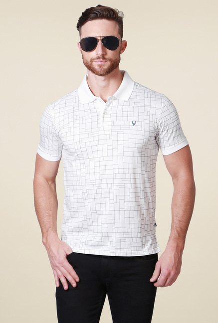 Allen Solly White Regular Fit Printed Cotton Polo T-Shirt