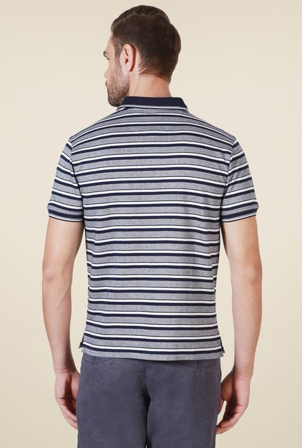 Allen Solly Grey Half Sleeves Striped T-Shirt