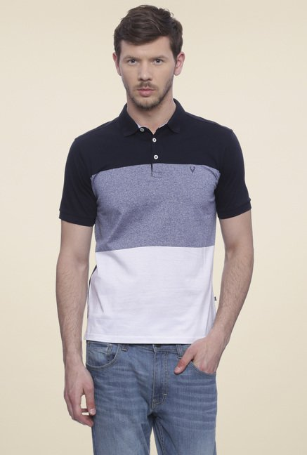 Allen Solly Navy Striped Cotton T-Shirt