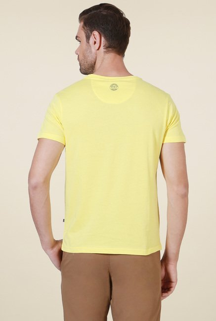 Allen Solly Yellow Crew Neck Cotton T-Shirt