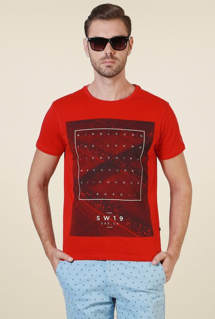 Allen Solly Red Crew Neck Printed T-Shirt