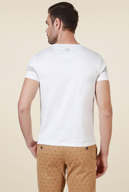 Allen Solly White Crew Neck Printed T-Shirt