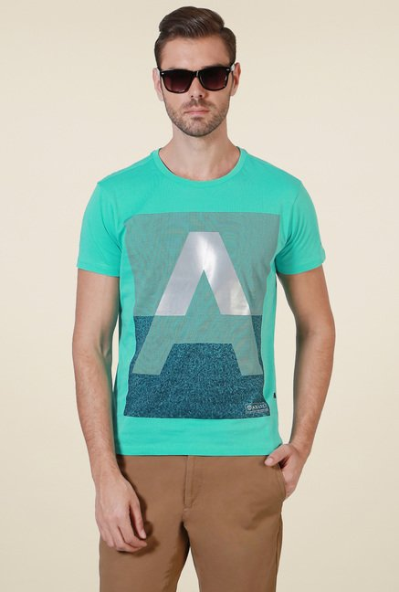 Allen Solly Turquoise Crew Neck T-Shirt