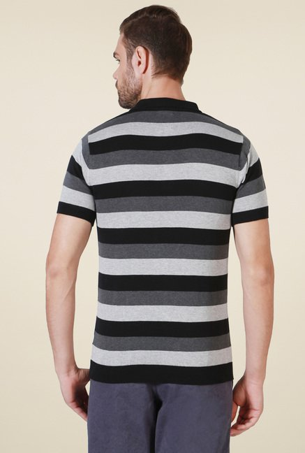 Allen Solly Grey & White Striped T-Shirt