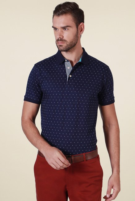 Allen Solly Navy Half Sleeves Printed Polo T-Shirt