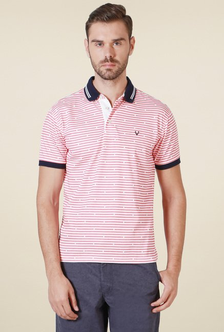 Allen Solly Pink & White Striped T-Shirt
