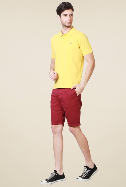 Allen Solly Yellow Regular Fit Half Sleeves Polo T-Shirt