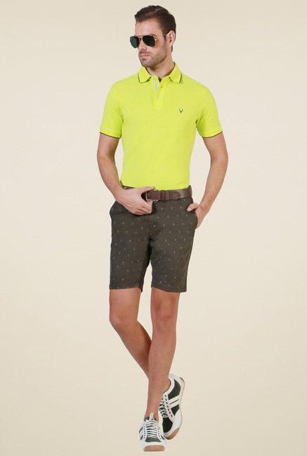 Allen Solly Lime Green Regular Fit T-Shirt