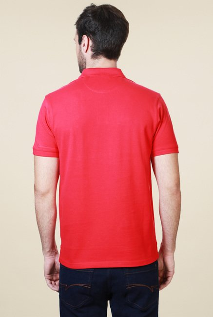 Allen Solly Red Half Sleeves Cotton Polo T-Shirt