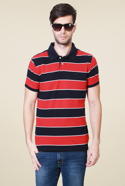 Allen Solly Red Striped Cotton Polo T-Shirt