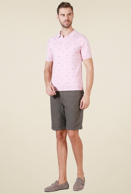 Allen Solly Pink Printed Polo T-Shirt