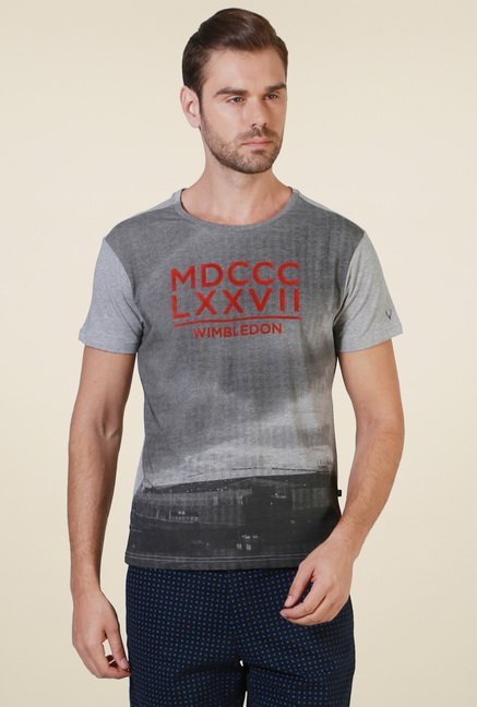 Allen Solly Grey Slim Fit Cotton T-Shirt