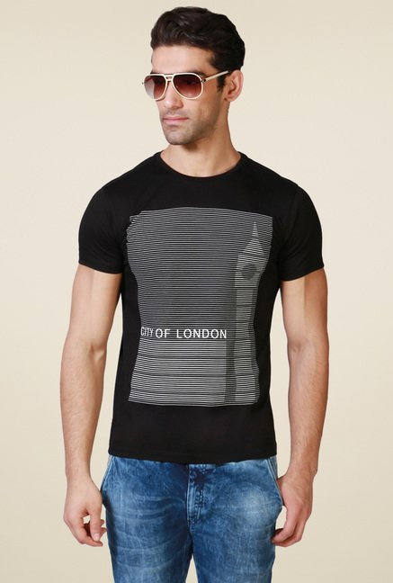Allen Solly Black Half Sleeves Cotton T-Shirt