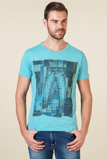 Allen Solly Light Blue Slim Fit T-Shirt